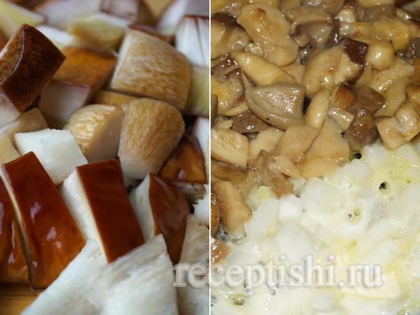 Белые грибы жареные с луком