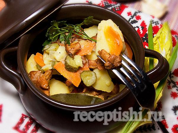 Свинина с картофелем и грибами в горшочках