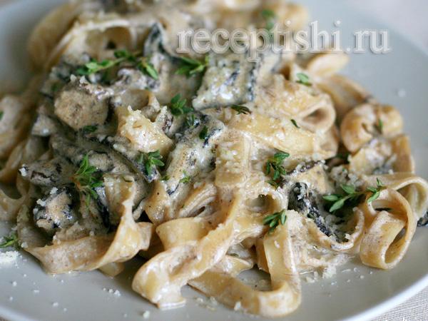 паста с белыми грибами в сливочном соусе итальянский рецепт