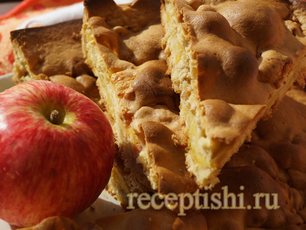 Простая шарлотка с яблоками (в духовке)