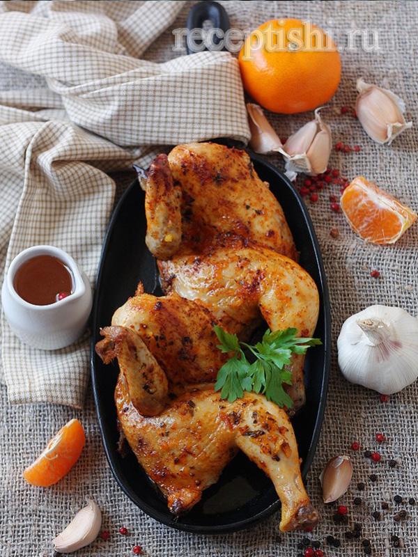 Цыпленок под имбирно-мандариновым соусом с медом и травами