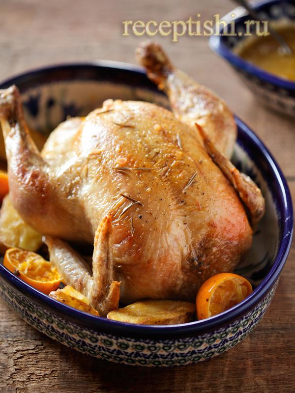Курица с апельсинами, в духовке