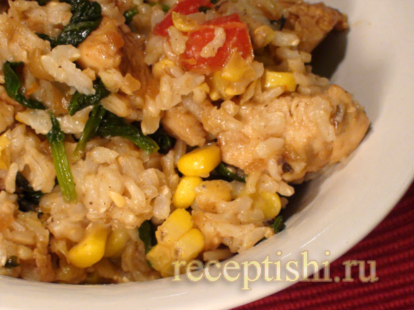 Курица с кукурузой и шпинатом
