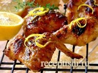 Курица на гриле, с лимоном и чесноком