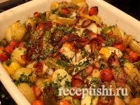 Курица с овощами, запеченная в духовке