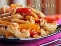 Рецепт Курица с перцем и манго