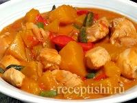 Рецепт Курица, тушенная с тыквой