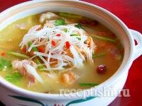 Рецепт Куриный суп с рисовой лапшой