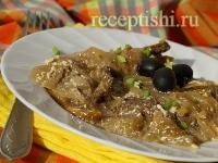 Рецепт Лангет из говядины с грибами