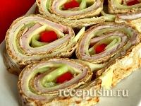Рецепт Рулетики тортилья с колбасой и сыром