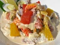 Салат из морепродуктов с цитрусовыми