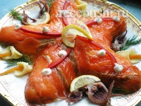 Салат с семгой и креветками Морская звезда