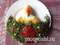 Салат Новогодняя свеча с рисом и крабовым мясом