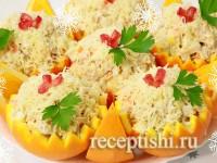 Красивый и вкусный салат с курицей и апельсинами