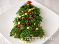 Салат с ветчиной, в виде елки на Новый год