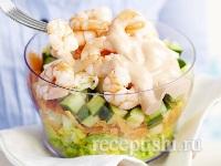 Салат зеленый с креветками