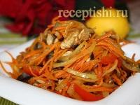 Теплый мясной салат с баклажанами и сладким перцем