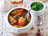 Томатный суп с судаком и картофелем