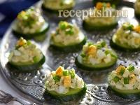 Рецепт Закуска из свежих огурцов с яйцом