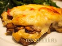 Рецепт Запеченная телятина с ветчиной, грибами и сыром