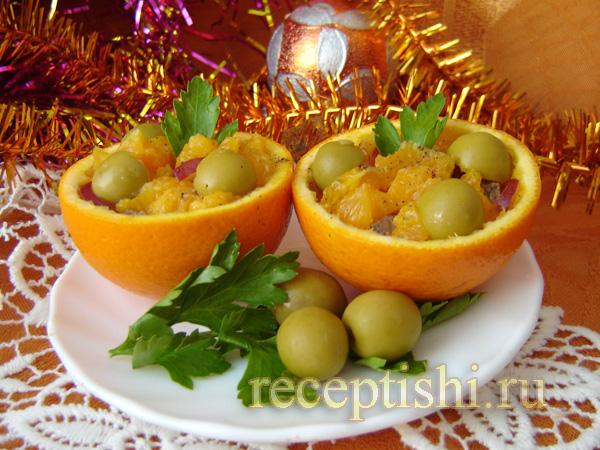 Новогодний салат в апельсине