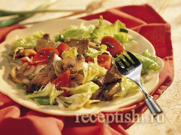 Пряный салат с говядиной и грибами