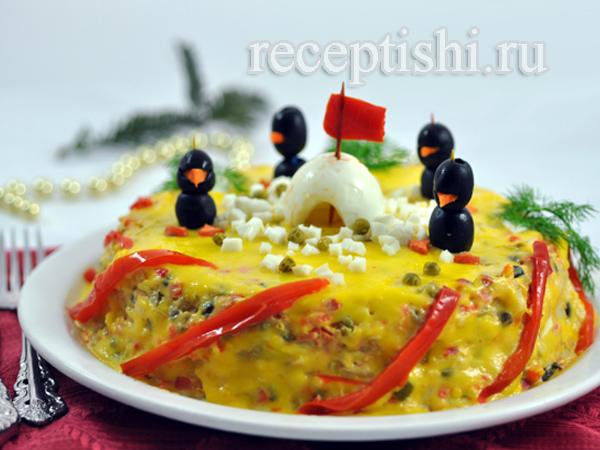 Румынский мясной салат Пингвины на льдине