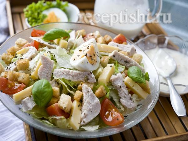 Салат цезарь рецепт быстро