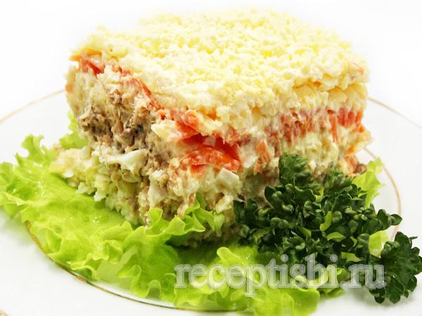 Салат «Мимоза» с сыром и сливочным маслом рецепт с фото 97