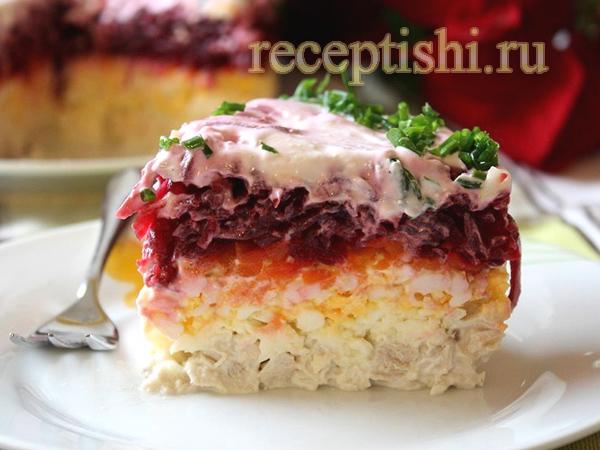 салат слоеный нежность со свеклой рецепт