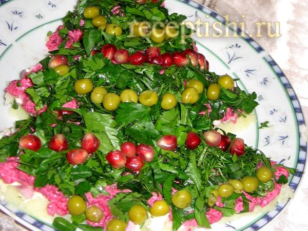 Салат Новогодняя елочка с сулугуни
