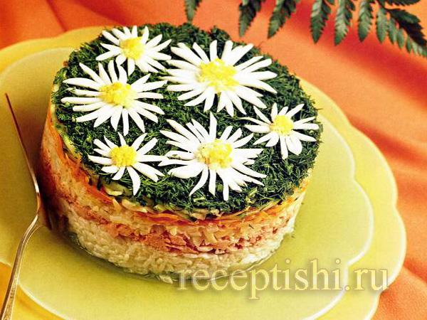 Салат Ромашки с горбушей