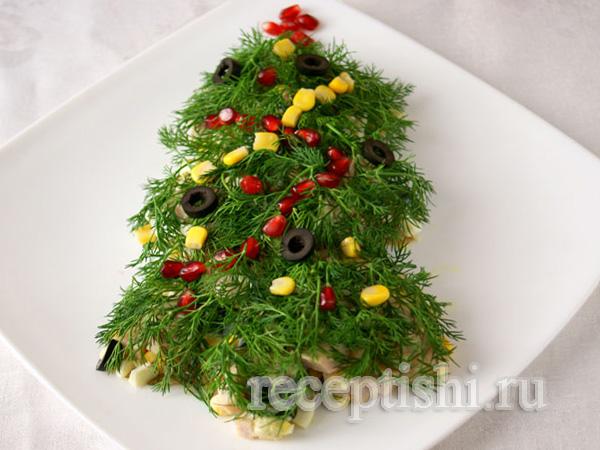 Салат с ветчиной, в виде елки, на Новый год