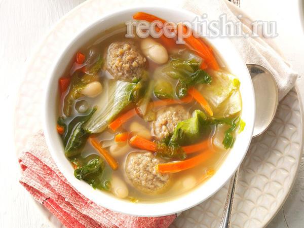 Суп с белой фасолью и фрикадеьками