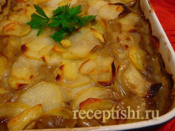 Запеканка из курицы с картофелем и грибами