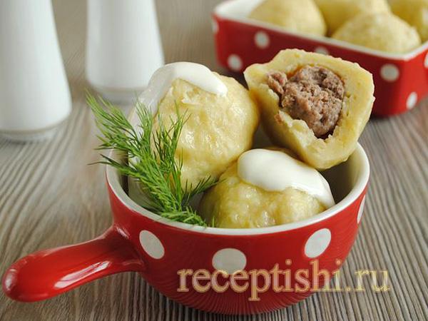 Картофельные клецки с фаршем