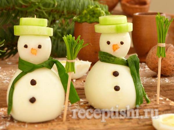 Снеговики из фаршированных яиц