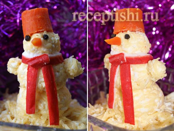Сырная закуска снеговик